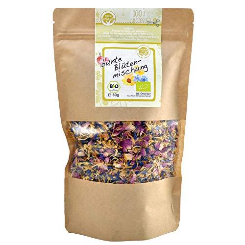 direct&friendly Bio bunte Blütenmischung - farbenfrohe Essblüten-Mischung aus Rosen-, Ringelblumen- und Kornblumenblütenblättern (50 g)