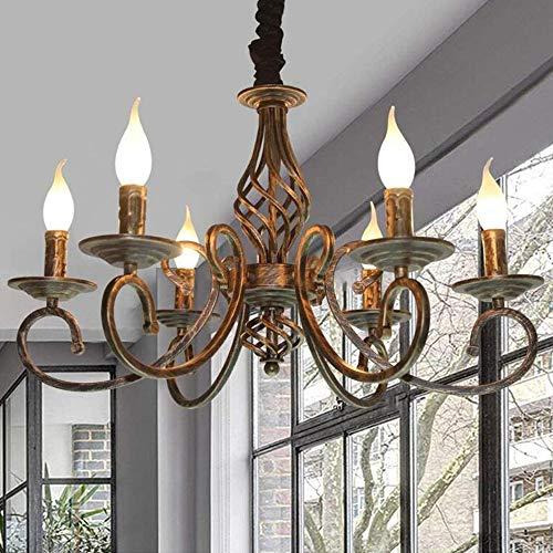 Kronleuchter Antik Bronze Pendelleuchte Industrie Retro Metall Hängeleuchte E14 Höhenverstellbar Kerze Kristall Deckenleuchte Klassisch Hängelampe Für Wohnzimmer Esszimmer Schlafzimmer, 6 Flammig