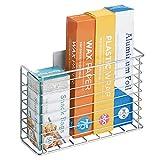 mDesign Organizer cucina autoadesivo AFFIXX – Portaoggetti da parete – Mensola cucina per carta stagnola, pellicola o sacchetti per congelare – Colore: metallo
