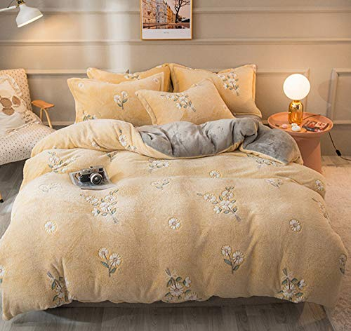 DUIPENGFEI Luxuriously Thickened And Warmed Snowflake Duvet Set Four-Piece Set, Yellow Flower,Double Size Duvet Cover 200 * 230Cm