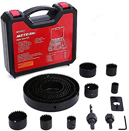 Hole Saw Set, Meterk 17 Pcs Hole Saw Kit with 13Pcs Saw Blades, 2 Mandrels, 1 Installation Plate, 1 Hex Key, Max Size 6'(152mm) and Min Size 3/4' (19mm), Ideal for Soft Wood, PVC Board and More