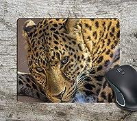 凝視ヒョウ写真コンピューターマウスパッドマウスパッドマウスマットマットパッド滑り止め 18x22cm