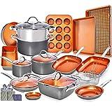 Copper Pots and Pans Set -23pc Copper Cookware Set Copper Pan Set Ceramic Cookware Set Ceramic Pots...