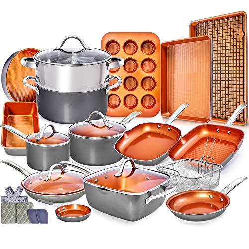 Copper Pots and Pans Set -23pc Copper Cookware Set Copper Pan Set...