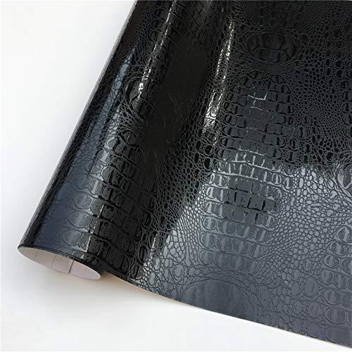 HSIOVE Diamond Sparkle Vinyl Wrap Film Car Wrapping Foil Sticker Sheet Bike Console Computer Laptop Skin Phone Cover (Color Name : Black Crocodile, Size : 152X20 CM)