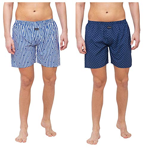 Nick&Jess Mens Printed Cotton Boxer Shorts - Steal Deal Pack of 2, Combo Offer on Boxers, Steal Deal