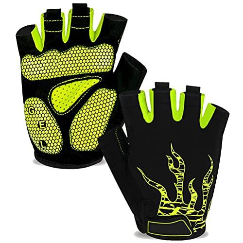 Holmeey Guantes de ciclismo, 1 par de guantes deportivos antigolpes, guantes antideslizantes para bicicleta, guantes de ciclismo de medio dedo para hombres, mujeres