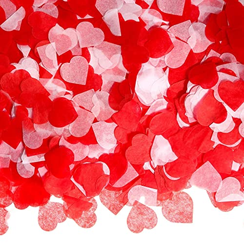 6000Pcs Herzen Konfetti,konfetti herz,2,5cm Konfetti Hochzeit,Konfetti Herzen Papier Rot Weiß,Rot Konfetti,Herzen Konfetti Bunte,hochzeitsdeko konfetti,Papier Konfetti Herz