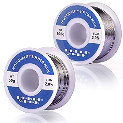 Fpxnb 2 Pack 60-40 Tin Lead Rosin Core Solder Wire Set for Electrical Soldering and DIY 0.0236 in (0.6 mm) 0.0315 in (0.8mm) 0.0394 in (1 mm) 0.0472 in (1.2 mm) 100g (0.22lbs) + 50g (0.11lbs)