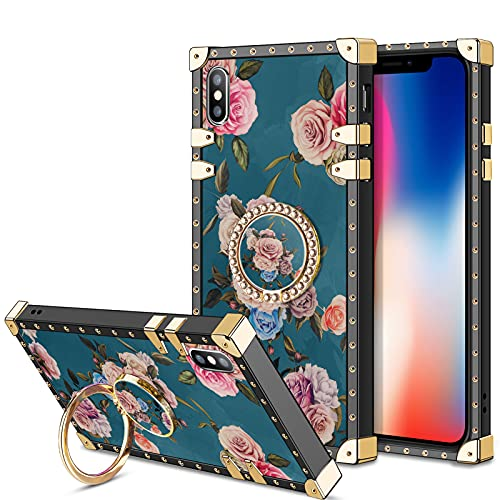 HoneyAKE Phone Case for iPhone X iPhone Xs Case with Kickstand Women Girls Soft TPU Shockproof Protective Heavy Duty Metal Cushion Reinforced Corner Case Compatible with Apple iPhone X/XS 5.8'',Peony