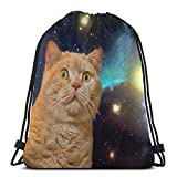 LTtie Gym Drawstring Bags, Viewy Universe Cat Tote Backpack Sackpack For Adults Gym Sack Bag For Hiking Yoga Gloves Storage Bag