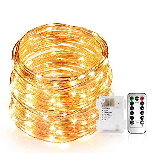 Stringa Luci Led, Catene Luminose 100 LEDS 10M Ghirlanda di Luci Calda, Filo di Rame  Iimpermeabile, 8 Modalità di Luci con Telecomando per Illuminazione [Classe di Efficienza Energetica A]