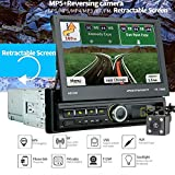 TENLSO [7066G] Autoradio GPS Tactile Rétractable 1 DIN, 7' Ecran LCD, Navigation de Voiture BT, Caméra de Recul/MP5/TF/USB/AUX/FM/Connexion avec Les Smartphones/Main Libre/Vidéo FHD