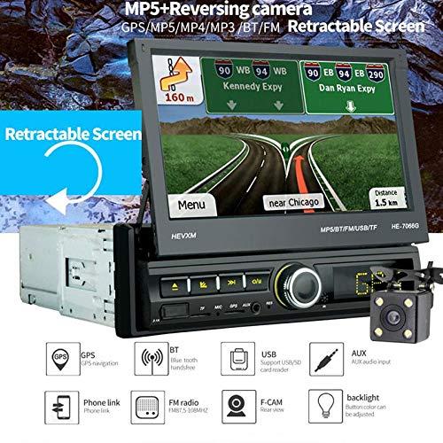 TENLSO [7066G] Autoradio GPS Tactile Rétractable 1 DIN, 7' Ecran LCD, Navigation de Voiture...