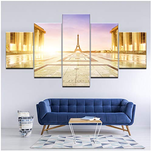 artppolr Canvas Painting Iron Tower Under Sunlight 5 Pieces Wall Art Painting Poster Print for Living Room Home Decor 30x40 30x60 30x80cm No Frame