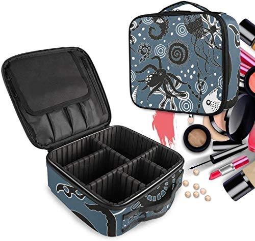 Cosmétique HZYDD Poulpes Noir Make Up Bag Trousse de Toilette Zipper Sacs de Maquillage Organisateur Poche for Compartiment Femmes Filles Gratuit