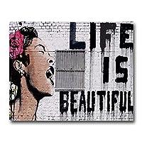 キャンバス塗装 ぶら下げ画 女の子とバルーンウォールアートオイルは、装飾的な絵リビングルームのホームインテリアを印刷書道ポスター絵画 (Color : BCBWH000122, Size (Inch) : 50x70cm)