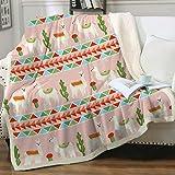Sleepwish Llama Cactus Pattern Super Soft Throw Blanket for Bed Couch Sofa Cute Llamas Colorful Aztec Sherpa Fleece Blanket Throw(50'x60')
