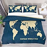 QIAOSHENG Vintage World Map California King Size 3 Piece Duvet Cover Bedding Sets Printed Comforter Bed Cover Set with 2 Pillow Cases Shams with Zipper Closure for Kids Teen Boys Girls
