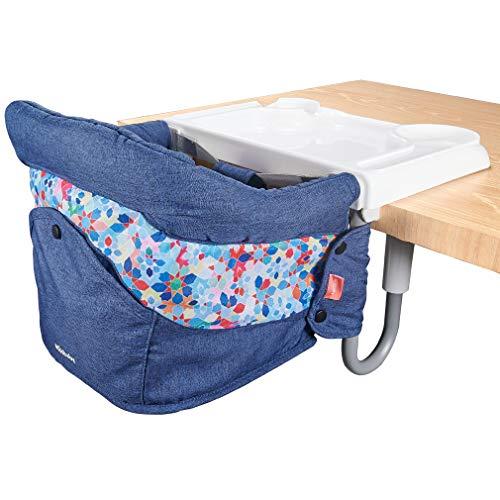Mosbaby Trona para bebé infantil con mesa de comedor, con cinturón de seguridad, estable, seguro, fácil de plegar, portátil, elegante, apta para la mesa azul