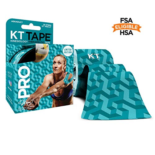 KT Tape Pro Kinesiology Therapeutic Sports Tape, 20 Precut 10 inch Strips, Latex Free, Water Resistance, Pro & Olympic Choice, Aquaduct