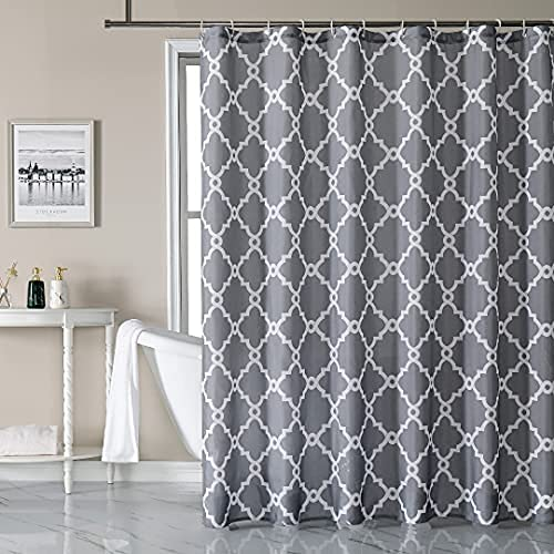 Homiva Grey Fabric Shower Curtain Set with Hooks, Polyester Quick Drying Material, Waterproof Design with Reinforced Ring Eyelets, Shower Curtain Set for Bathroom, 72 X 72 Washable with 12 Hooks