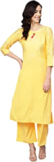 Ziyaa Women's Yellow Color Solid Straight Crepe Kurta With Palazzo / Salwar Suit Set