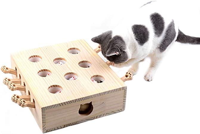 Cat Toys Mouse Whack Mole Mouse Juguete Interactivo Kitten Hunt Toy Puzzle Box with Cartoon Mouse Cat Punch Game for Cat Playing Scratching Bite