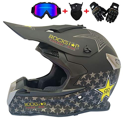 CHAOYUE Motocross Crash DH Helmet Dot Full Face Off Road Downhill Dirt Bike MX ATV Casco de Moto, con Guantes, Gafas, máscara Set de 4 Piezas, para Hombres Adultos Mujeres
