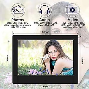 TENSWALL 7 Zoll Digitaler Bilderrahmen 1024x600 hochauflösendes Full-IPS-Display Foto/Musik/Video-Player Kalender Wecker automatischer EIN/aus Timer, unterstützt USB-und SD-Karte, Fernbedienung