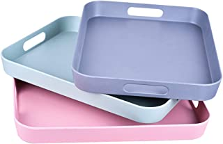 Serving Tray Bamboo Fiber Melamine Serving Trays with Handle Modern Plastic Food and Drink Tray for Parties Coffee Table Home Storage 3-Pack