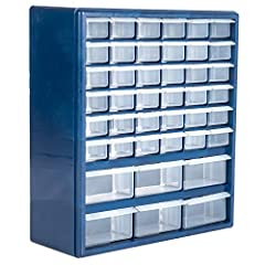 42 trays including 6 oversized trays 42 removable tray dividers Dimensions: 17 H x 14.75 W x 5.25 D inches Small Tray Dimensions: 5.25 D x 2.25 W x 2.25 H Large Tray Dimensions: 5.25 D x 4.25 W x 2.25 H, Holes in back for mounting on wall