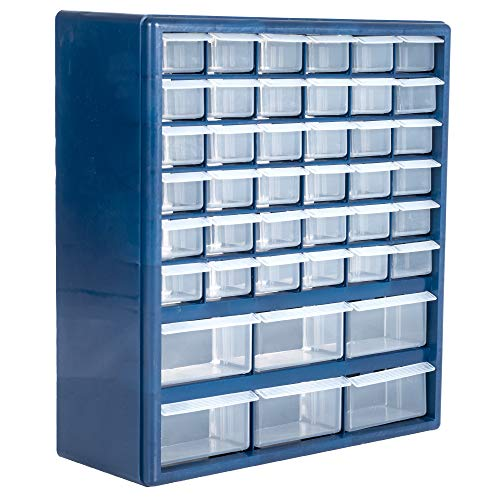 Plastic Storage Drawers – 42 Compartment Organizer – Desktop or Wall Mount Container for Hardware, Parts, Crafts, Beads, or Tools by Stalwart