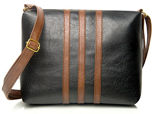 Mammon Women's Pu Leather Handbag Black (Slg-3Strip-Tb,27X21 Cm)