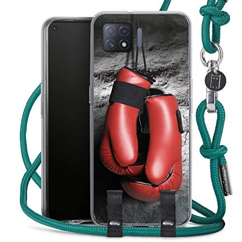 DeinDesign Carry Case kompatibel mit Oppo A73 5G Hülle mit Kordel aus Stoff Handykette zum Umhängen türkis Boxen Boxhandschuhe Sport