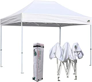 Eurmax 8 x 12 Ez Pop Up Canopy Party Tent Commercial Outdoor Instant Canopies Bonus Deluxe Wheeled Storage Bag (White)