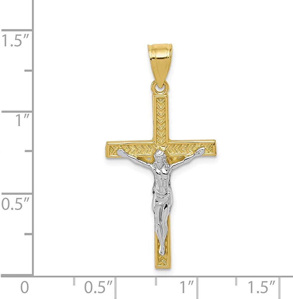 Solid 10k Yellow Gold Two Toned Cross Pendant Crucifix Charm - 35mm x 16mm