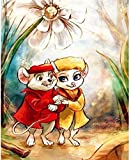 N-S Pintar por números para Adultos, Principiantes yniños,Dibujos Animados de Flores, ratón Amante, Pintura de Bricolaje por números