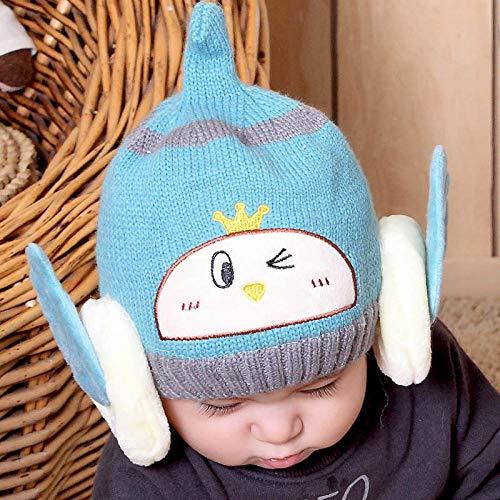 Gorro Beanie Hombre Sombrero Cálido De Invierno para Niñas, Sombreros De ala De Dibujos Animados para Niños, Gorro De Punto Suave, Gorro Grueso para Niños-Azul Agua 6-24 Meses Bebé