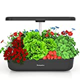 ROMPICO Hydroponics Growing System Home Herb Garden Full Spectrum LED Grow Lights 12 Plant Pods Height Adjustable (Black)