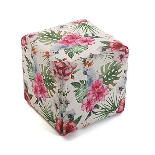 Versa 21350132 Tabouret Seau Pouf carré Fleurs 4, Polyester et Bois, Tropical-Multicolor, 35 x 35 x 35 cm