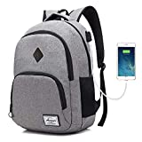 AUGUR Unisex Laptop Backpack 15.6 inch College School students Book Bag Travel Water Resistant Daypack (Grey)
