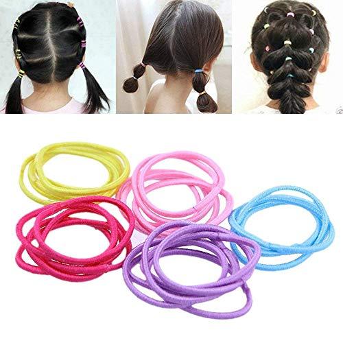 Kentop Bande de Cheveux Elastique Coloré Elastique Cheveux Bande de Cheveux pour Enfant Filles Femme Couleur aléatoire 100PCS