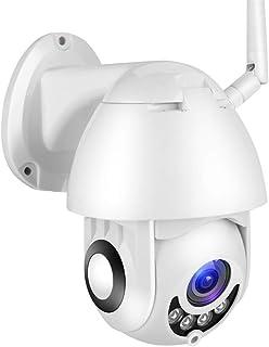 Cámara WiFi cámara de Seguridad para el hogar Impermeable 1080P HD inalámbrica IP 66 con Audio de Dos vías visión Nocturna detección de Movimiento rotación omnidireccional de la Plataforma(EU)