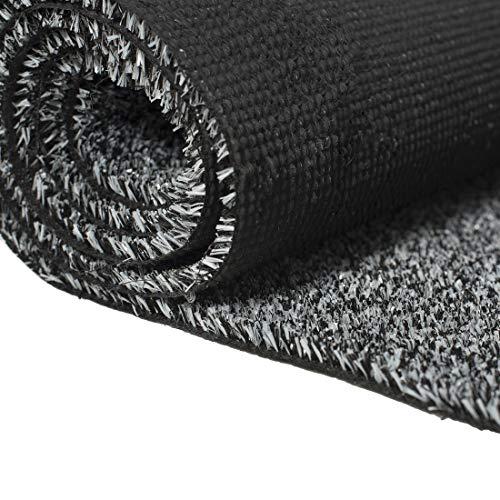 Carpeto Rugs Kunstrasen Rasenteppich für Garten Balkone Terrassen Wintergärten mit Drainage - Höhe: 6 mm Meterware Wasserdurchlässig - Grau Schwarz 400 x 300 cm