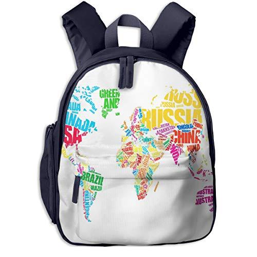 Kinderrucksack Kleinkind Jungen Mädchen Kindergartentasche Weltkarte Wort Backpack Schultasche Rucksack