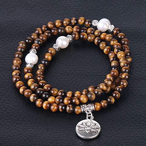 Pulsera De Mujer 4Mm Cristal De Piedra Natural 108 Mala Beads Brazalete Multicapa Flor Accesorios De Perlas Joyería De Niña-Ojo De Tigre