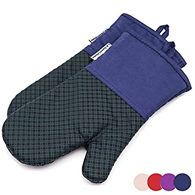 LA Sweet Home Silicone Oven Mitts 464 F Heat Resistant Plaid Cooking Gloves Non-Slip Grip Pot Holders for Kitchen Oven, BBQ Grill and Fire Pits Ideal for Cooking, Baking 7x13 inch 1 Pair (Blue) by