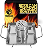Beer Can Chicken Roaster Stand - Stainless Steel Holder - Barbecue Rack for The Grill, Oven or Smoker - Dishwasher Safe - Includes 4 Vegetable Spikes