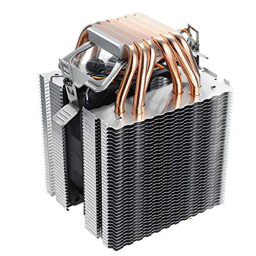 hgbygvuy DC12V 6 PUBLE Tubo COMPUTADOR CPU Fan Cooler Fregadero de Calor Ultra-silencioso para LAG1156 / 1155/1150 / 775 s